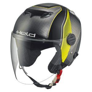 JET - Casco Held Top Spot Diseño Negro Amarillo neón -