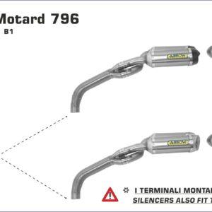 ESCAPES ARROW DUCATI - Silencioso Arrow Thunder Approved de titanio (Dcho+Izdo) fondo en carbono - version corta -
