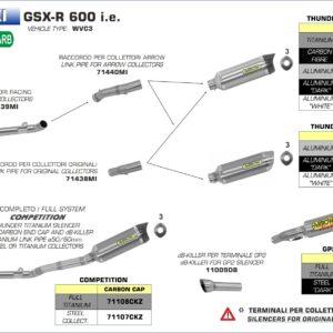 ESCAPES ARROW - RACORD PARA COLECTORES ARROW RACING SUZUKI GSX-R 600/750 i.e. '11/14 -