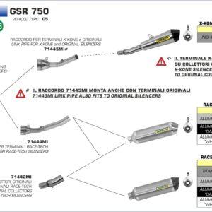 ESCAPES ARROW - COLECTOR CENTRAL PARA ESCAPES ARROW RACE TECH,WORKS Y TROPHY SUZUKI GSR 750 '11/14 -