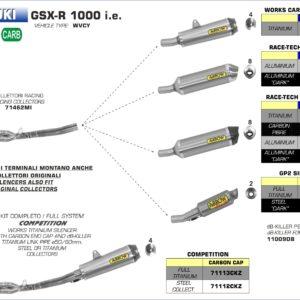 ESCAPES ARROW - Sistema completo Arrow COMPETITION con dBKiller con fondo en carbono -