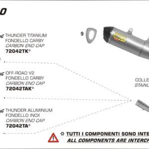 ESCAPES ARROW HUSQVARNA - Silencioso Arrow Thunder de aluminio fondo en carbono -