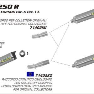 ESCAPES ARROW KAWASAKI - Conector Arrow catalítico para Colectores Arrow originales -