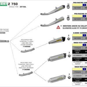 ESCAPES ARROW KAWASAKI - Conector Arrow para Silencioso Arrows Race-Tech -