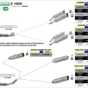 ESCAPES ARROW KAWASAKI - Silencioso Arrow Thunder Approved de carbono (Dcho+Izdo) fondo en carbono -