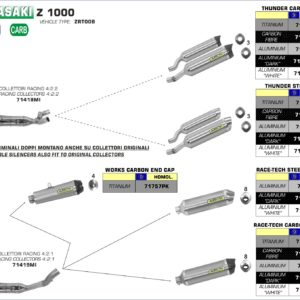 ESCAPES ARROW KAWASAKI - Silencioso Arrow Thunder Approved de carbono (Dcho+Izdo) -