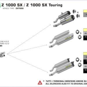 ESCAPES ARROW KAWASAKI - Silencioso Arrows Works Approved de titanio (Dcho+Izdo) fondo en carbono -