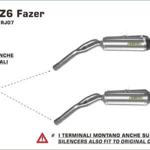 ESCAPES ARROW - SUPRESOR CATALIZADOR ARROW YAMAHA FZ6 - FZ6 Fazer '04/06 -
