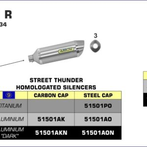 ESCAPES ARROW HONDA - Silencioso Arrow Street Thunder de aluminio fondo en carbono para Colectores Arrow originales -