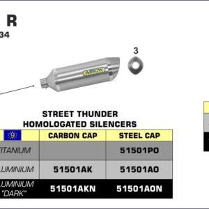 ESCAPES ARROW HONDA - Silencioso Arrow Street Thunder de aluminio Dark fondo en carbono para Colectores Arrow originales