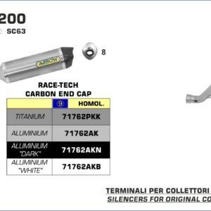 ESCAPES ARROW HONDA - Silencioso Arrow Race-Tech de aluminio Dark fondo en carbono -