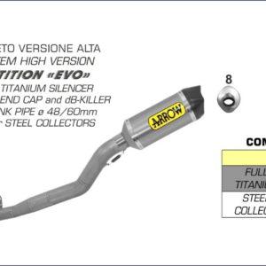 HONDA - Sistema completo Arrow COMPETITION EVO Full Titanium con dBKiller con fondo en carbono -