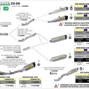 ESCAPES UNIVERSALES - Sistema completo Arrow COMPETITION EVO Full Titanium con dBKiller con fondo en carbono -
