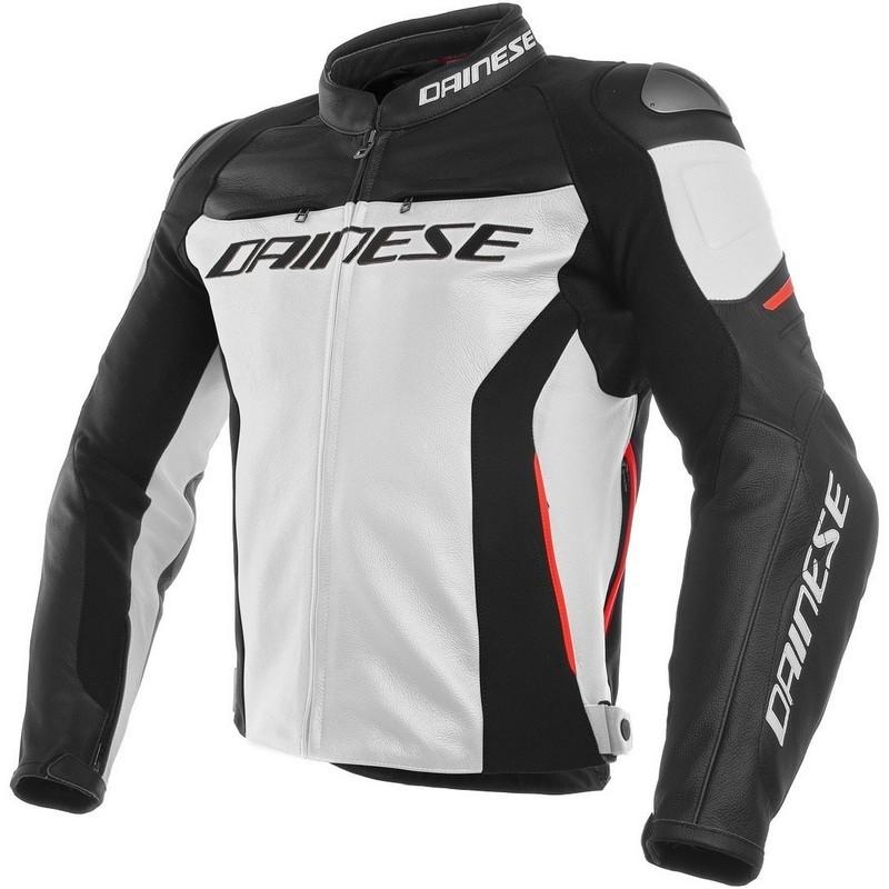 Chaquetas de piel Dainese - Chaqueta Dainese de cuero Racing 3 Negra Blanca -