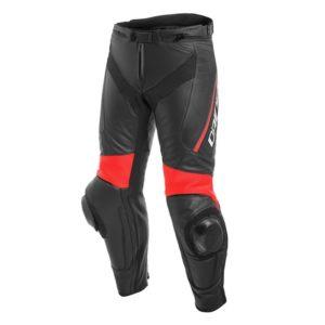 Dainese - Pantalón de cuero Dainese Delta 3 Negro Rojo -