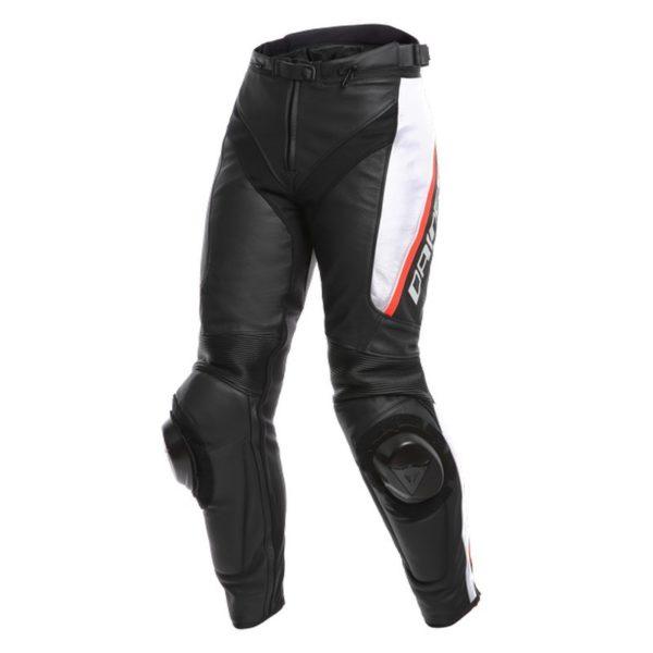 Dainese - Pantalón de cuero Dainese Delta 3 Mujer Negro Blanco Rojo -