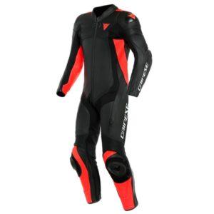 mono-dainese-assen-2-1pc-perforado-negro-negro-rojo-lava