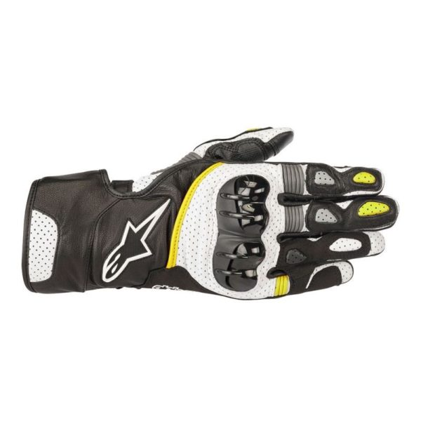 - Guantes Alpinestars SP-2 v2 Leather Glove Negros Blancos Amarillos -