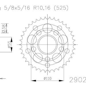 PARA TU MOTO UNIVERSAL - Corona ESJOT Acero Ducati 50-29020 39 dientes -