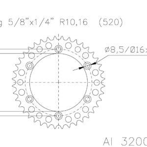 PARA TU MOTO UNIVERSAL - Corona ESJOT Aluminio 51-32001 46 dientes -