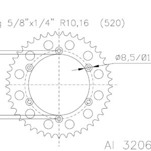 PARA TU MOTO UNIVERSAL - Corona ESJOT aluminio 51-32065AO 45 dientes naranja anodizado -