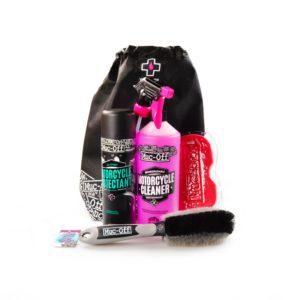 LIMPIEZA - Kit completo cuidado moto (Protectant + Cleaner + esponja + cepillo) Muc-Off Motorcycle Essentials -