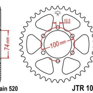 HYOUSUNG - Corona JT 1073 de acero con 46 dientes -
