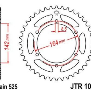 HYOUSUNG - Corona JT 1074 de acero con 44 dientes -