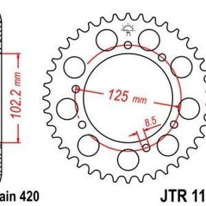 BULTACO - Corona JT 1132 de acero con 53 dientes -