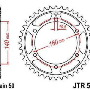 KAWASAKI - Corona JT 502 de acero con 49 dientes -