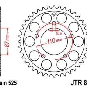 SUZUKI - Corona JT 807 de acero con 46 dientes -