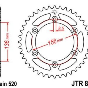 HUSQVARNA - Corona JT 822 de acero con 53 dientes -