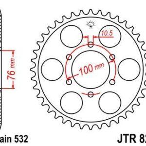 SUZUKI - Corona JT 827 de acero con 44 dientes -