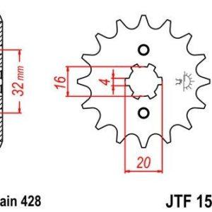 MOTOR HISPANIA - Piñon JT 1550 de acero con 14 dientes -