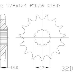 TM RACING - Piñon ESJOT Acero 50-32105 13 dientes -
