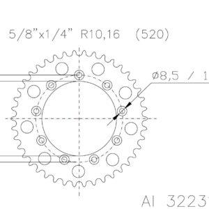 TM RACING - Corona ESJOT Aluminio 51-32231-51 dientes -